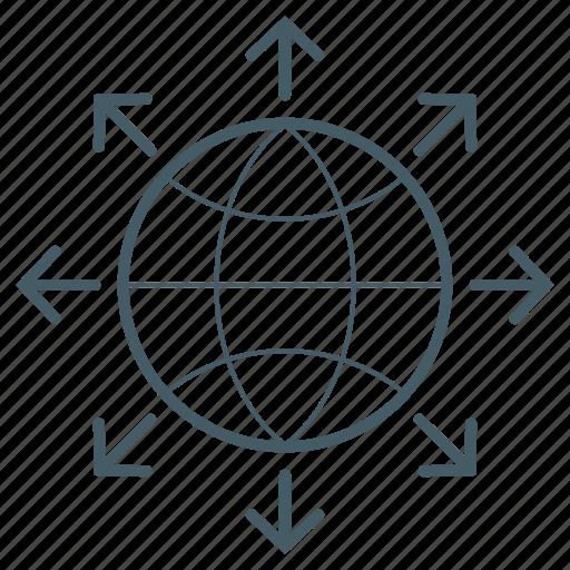 energy, export, globe, outside icon