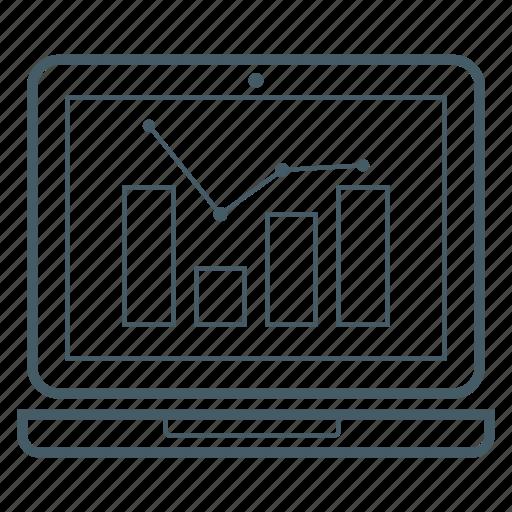 bar chart, chart, computer, graph, laptop icon