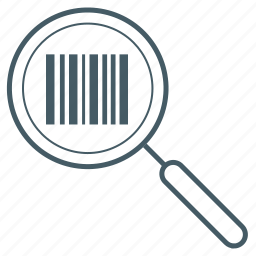 barcode, glass, magnifying, search, security icon