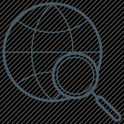 globe, magnifying glass, world, zoom icon