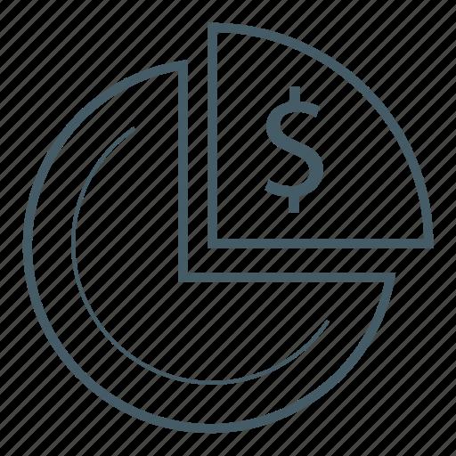 chart, dollar, money, pie, quarter icon