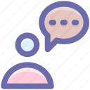 chat, communication, conversion, man, message, talk icon