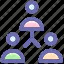 hierarchy, man, men, social, staff, team, users icon