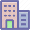 apartment, bank, building, business, center, company, hotel, office icon