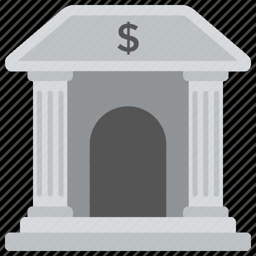 architecture, bank, columns building, court, exterior icon