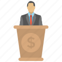 business seminar, conference, economic speaker, financial literacy, financial speaker icon