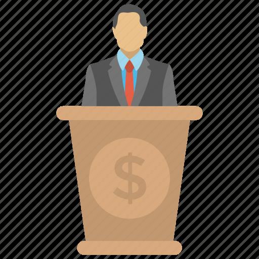 business seminar, conference, economic speaker, financial literacy, financial speaker icon