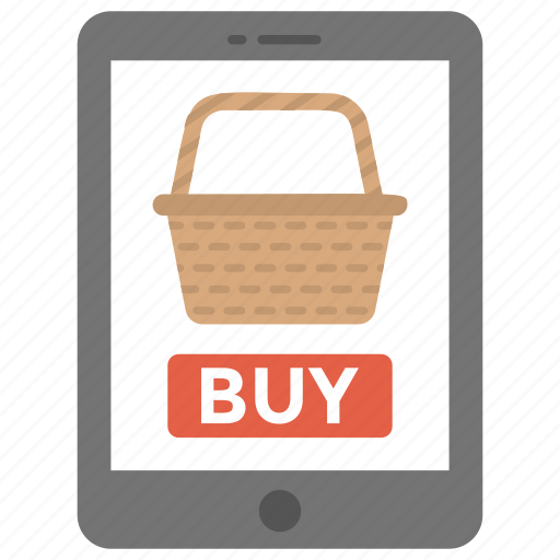 buy online, estore, m commerce, mobile shopping app, online shopping icon