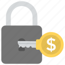 dollar lock, financial protection, money security, safe banking, wealth icon