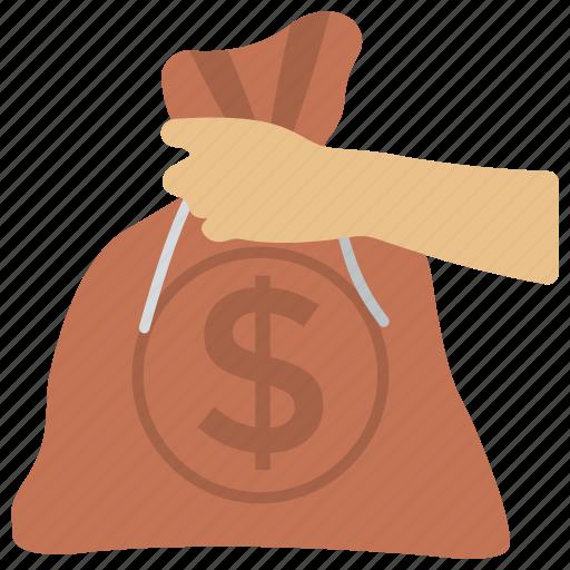 dollar bag, money bag, money sack, savings, wealth icon