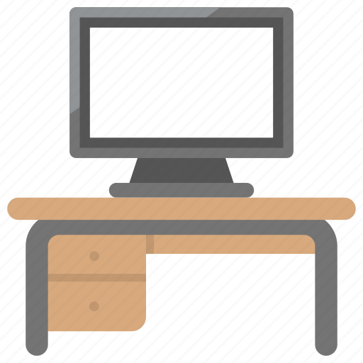computer desk, furniture, home office, office desk, work desk icon