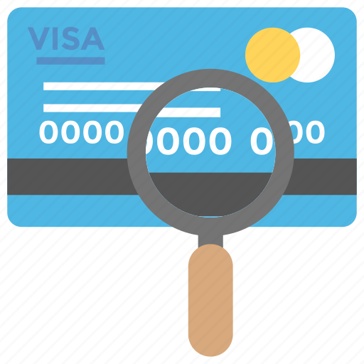 banking, credit card scanning, credit card search, debit card, find new card, magnifier icon