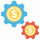 cog, dollar, dollar exchange, financial market, money exchange icon