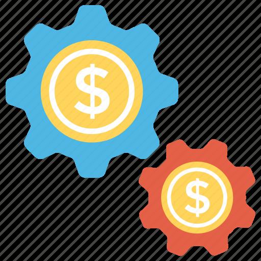 cog, dollar, dollar exchange, financial market, money exchange icon