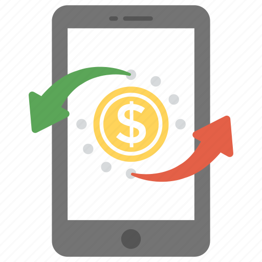 m-commerce, mobile banking, online money exchange, pay online, transaction icon