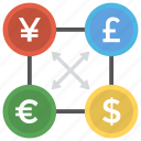currencies trade, currency trading, forex trading, global market, money exchange icon