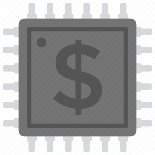 cryptocurrency, digital currency, digital money, electronic currency, processor chip icon