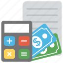 accounting, banknotes, bills, bookkeeping, calculation icon