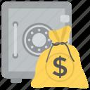 bank deposit, bank locker, bank safe, bank vault, money sack icon