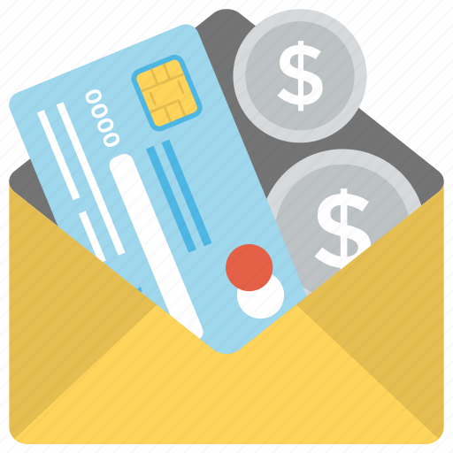 cash in envelope, credit card, money transfer, payment, wages icon