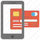 credit card, m-commerce, mobile banking, pay online, transaction icon
