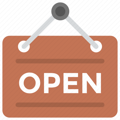 commercial signage, open shop, shop sign, sign board, we are open icon