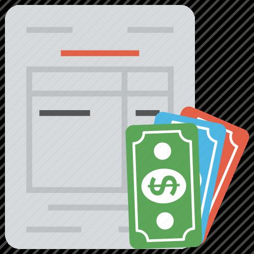 accounting, balance sheet, bank statement, finance document, financial summary icon