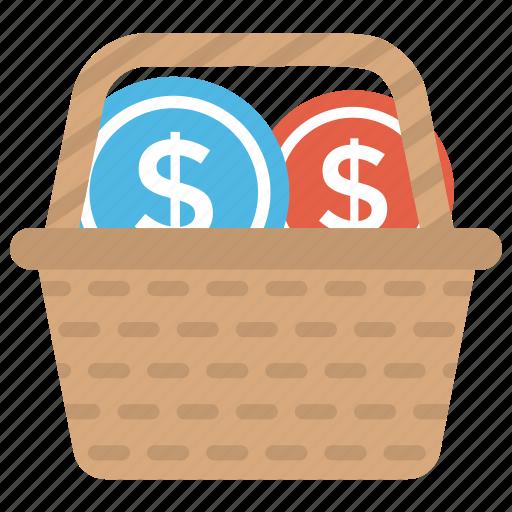 budget planning, cash back, funds raising, shopping basket, shopping budget icon