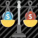 balance sheet, budget balance, money sack, value of money, weighing scale icon