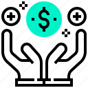 bank, benefit, currency, dollar, finance, hand, money icon