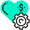 dollar, gear, heart, love, money, relationship icon