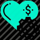 dollar, gear, heart, love, money, relationship