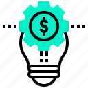 creative, dollar, idea, lightbulb, money, solution icon