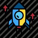 rocket, spaceship, start, up icon