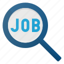 career, find, glass, job, magnifying, search, seo icon