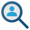career, employe, glass, job, magnifying, people, search icon