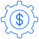 coin, dollar, gear, setting icon