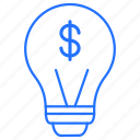 bulb, dollar, idea, money icon
