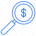 business, dollar, money, search icon