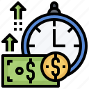 alarm, cash, clock, money, time, timer icon