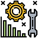 adjustment, analysis, graph, problem, solution icon