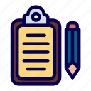 clipboard, list, pencil, records icon