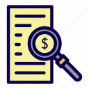 finance, magnifier, money, paper, tax icon