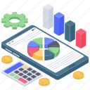 app analytics, budget, business infographic, calculation, data management, mobile data icon