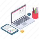 analytics, business data, business workspace, personal desk, workplace icon