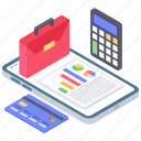 business calculation, business data, data report, financial data chart, online analytics, online banking icon