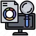 analysis, computer, data, graphic, laptop, statistics icon