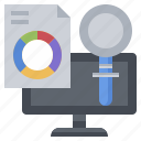 analysis, computer, data, graphic, laptop, statistics icon