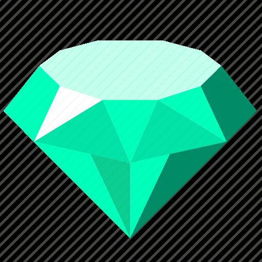 diamond, emerald, jewelry, luxury, stone icon