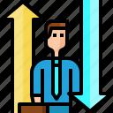 arrow, avatar, businessman, choice, direction, down, up